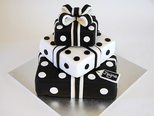 Black and White Present Stack Cake   Beautiful Birthday Cakes