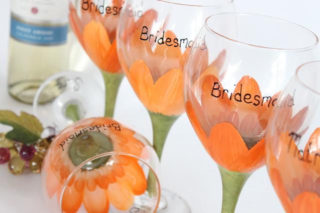 Orange gerbera daisy bridal party glasses Custom Painted Glassware