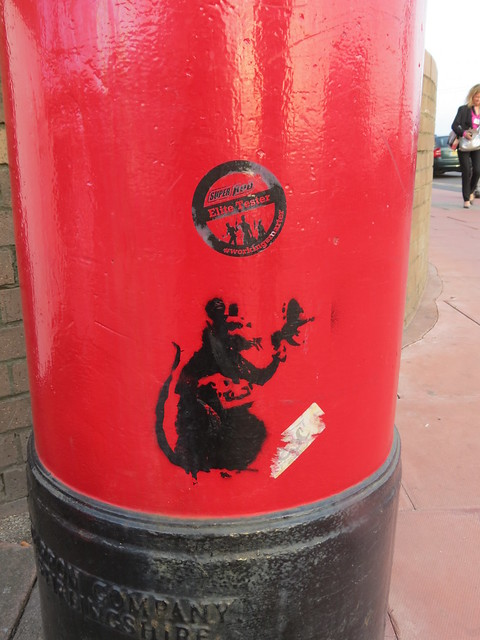 Banksy-style rat on a postbox in Brighton