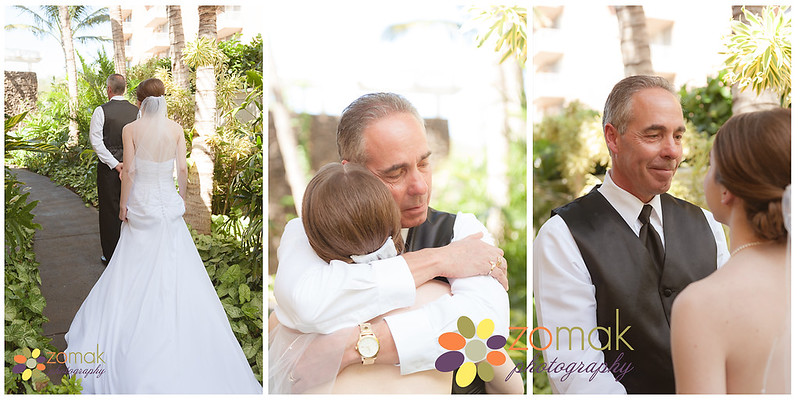 A bride and her father have a special moment before her Maui beach wedding