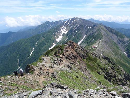 北岳から間ノ岳、農鳥岳