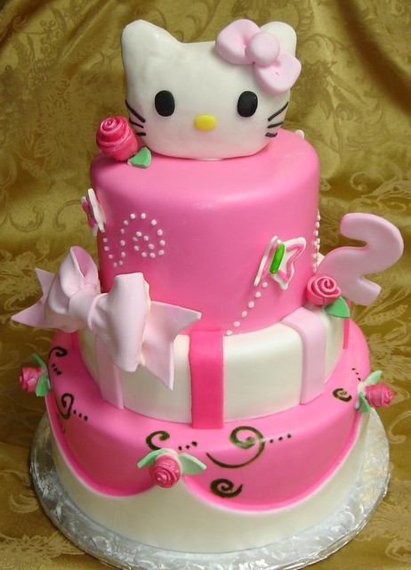 Three Tier Pink And White Fondant Custom Designed Hello
