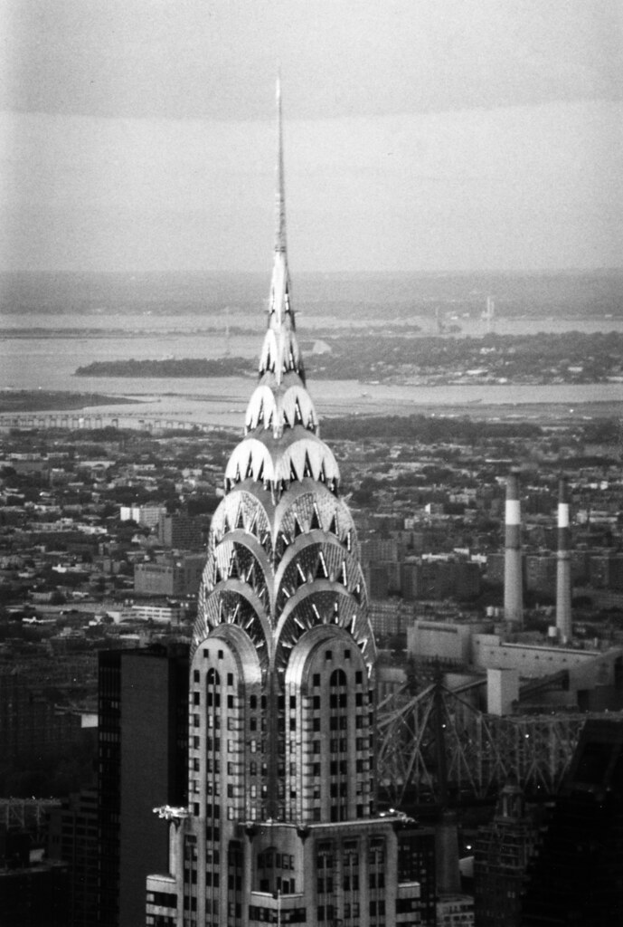 Chrysler building from empire state building with queens in the background black white film