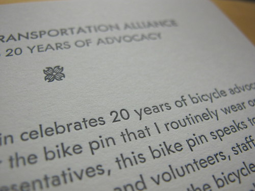 Bicycle Transportation Alliance pin packaging by Stumptown Printers