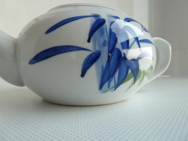 tetera china. caña de bambú azul - teapot
