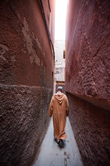 Our guide takes us through the narrow winding streets of the Mellah (Jewish quarter) in Marrakech