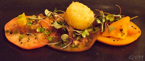 Waimea Heirloom Tomato Salad with Kaiwe Smoked Alaea Pink & Molokai Volcanic Salt with a Brie Cheese Croquette