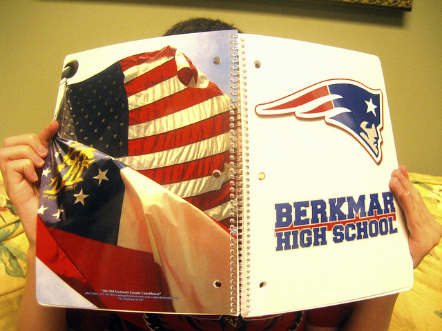 "Berkmar High School spiral-bound notebook with ""Flying Elvis"" logo on front cover"