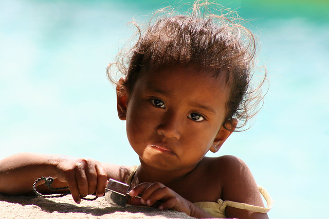 Portrait of a cute little girl in Timor, Indonesia.