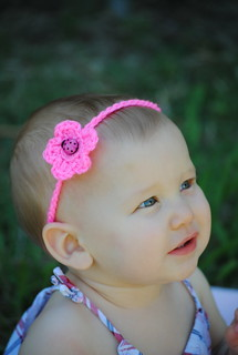 Crochet flower headband with button center