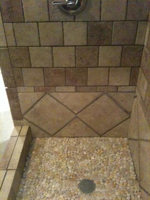 Custom Shower River Rock Floor Custom Shower River