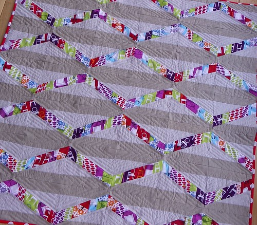 Close up of Tufted Tweets quilt