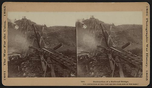 Destruction of a railroad bridge (LOC)