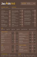 Jacob\'s Well Menu Design