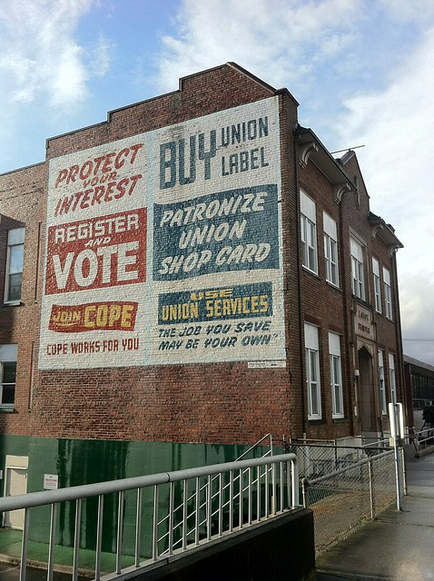 Buy Union Label on the side of the Labor Temple in Everett