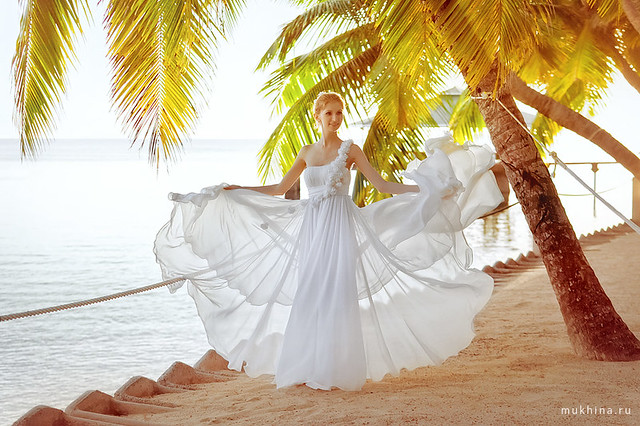 Vasilisa, the bride, at Praslin, Seychelles