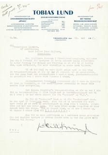 Brev fra Tobias Lund til ordføreren om byens navn (1945)