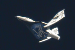 First Feather Flight of SpaceShipTwo. Photo by Clay Center Observatory/Virgin Galactic