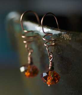 Red Magma Swarovski Crystal Spiral Copper Earrings by Moss & Mist Jewelry