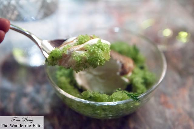 Spoon of frozen apple panna cotta