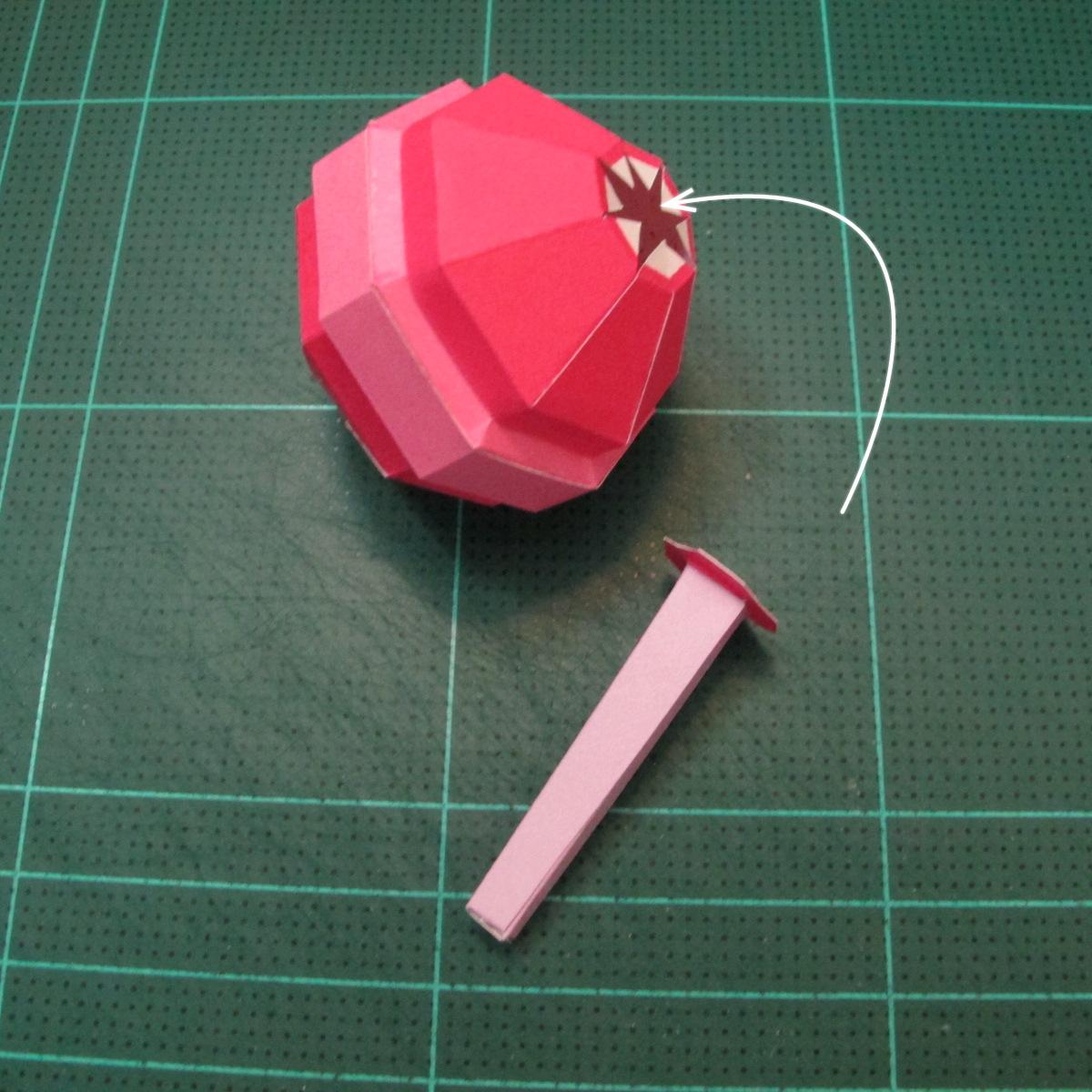 วิธีทำโมเดลกระดาษตุ้กตาคุกกี้รัน คุกกี้รสสตอเบอรี่ (LINE Cookie Run Strawberry Cookie Papercraft Model) 039