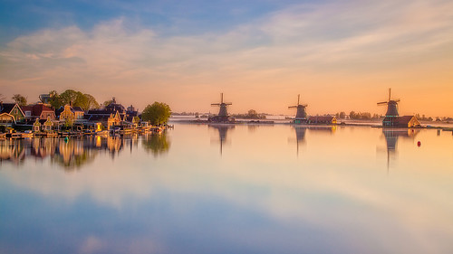 holland netherlands windmill sunrise zaanseschans zaandam