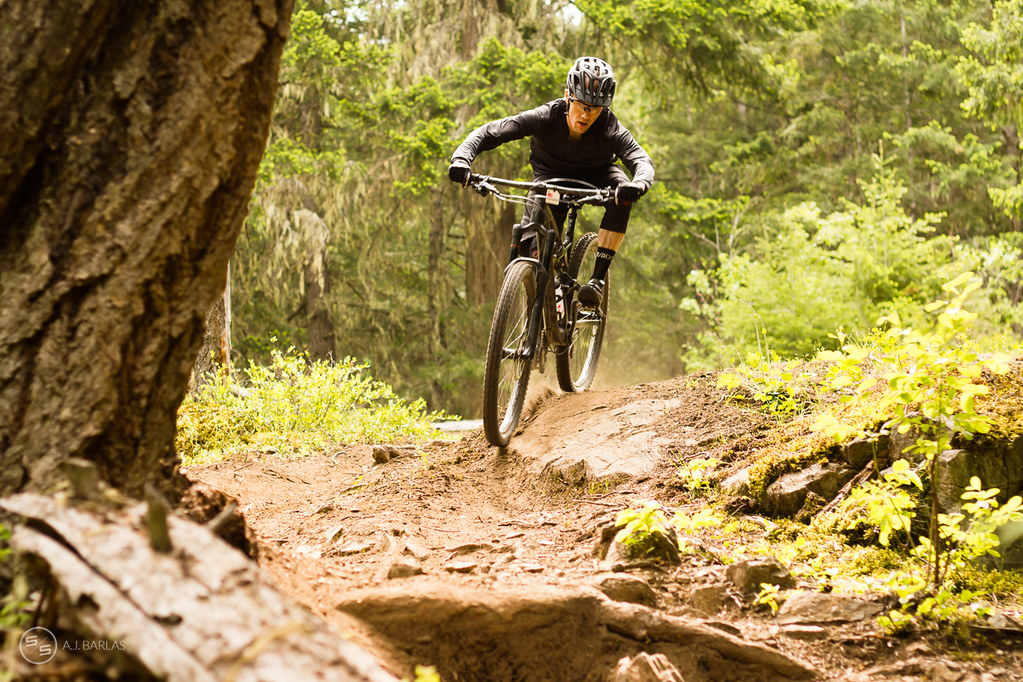 Jamie Levett coming in hot on stage 2 of the Pemberton Enduro
