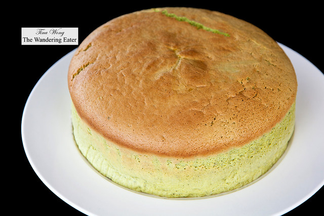 Homemade matcha Japanese souflé cheesecake