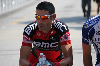 George Hincapie on starting line for the 2011 usa cycling championship race