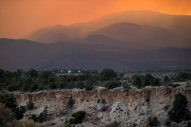 View toward Jemez Mountains, Los Alamos townsite, from the Hill Road.  Photo by Jeff Berger.
