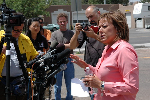 New Mexico Governor Susanna Martinez at news conference, Los Alamos, June 30, 2011