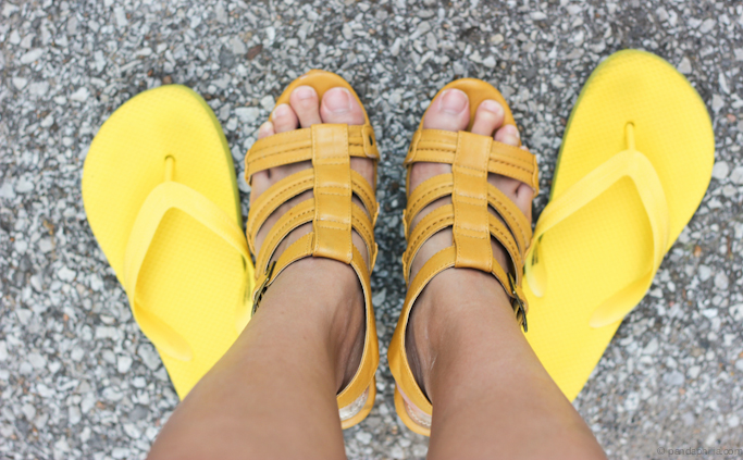 yellow wedges and flip flops