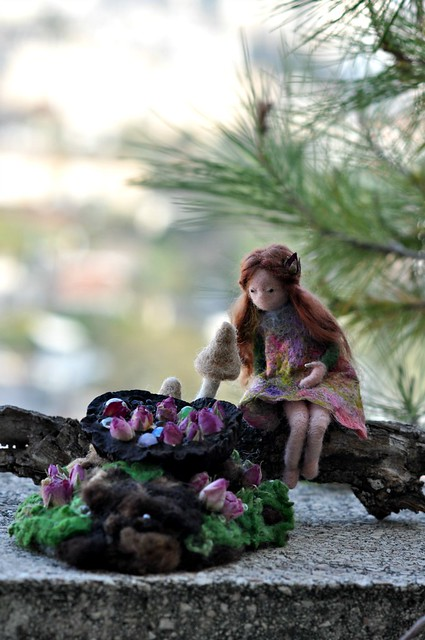Needle felted Waldorf Doll/Pixie and her treasure/Spirit of Forest/standing doll-soft sculpture