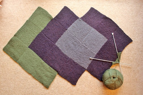 knitted garter stitch bag - olive, aubergine and grey