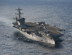 In this file photo, the aircraft carrier USS Carl Vinson (CVN 70) transits in the Pacific Ocean May 4, 2012. (U.S. Navy photo by Mass Communication Specialist 2nd Class James R. Evans)