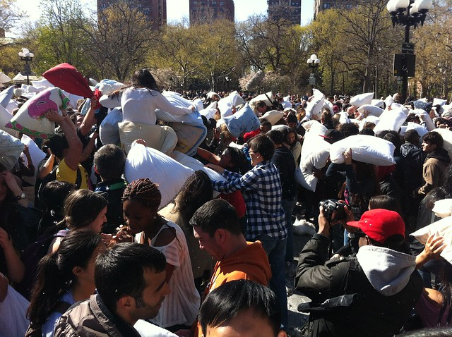 Pillow Fight, Washington Square Park, NYC