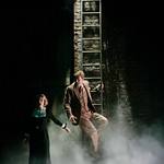 On the run for their lives, Pamela (Ferrin) and Hannay (Edwards) discover the only way is up in the Huntington Theatre Company's pre-Broadway American premiere production of Alfred Hitchcock's