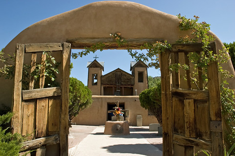 The historic Spanish mission of El Santuario de Chimayo in New Mexico