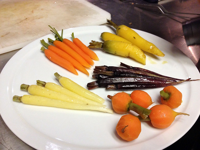 Five different kinds of heirloom carrots