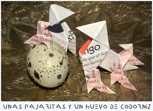 pajaritas y un huevo de codorniz