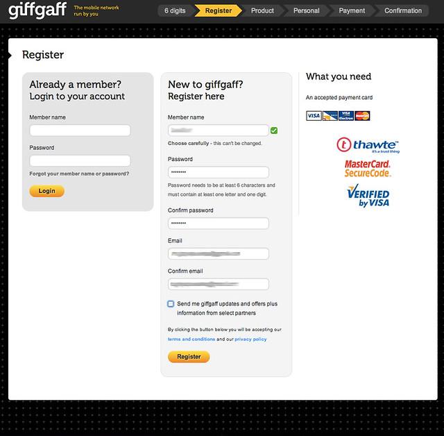 Activación de la tarjeta SIM de giffgaff para el Reino Unido