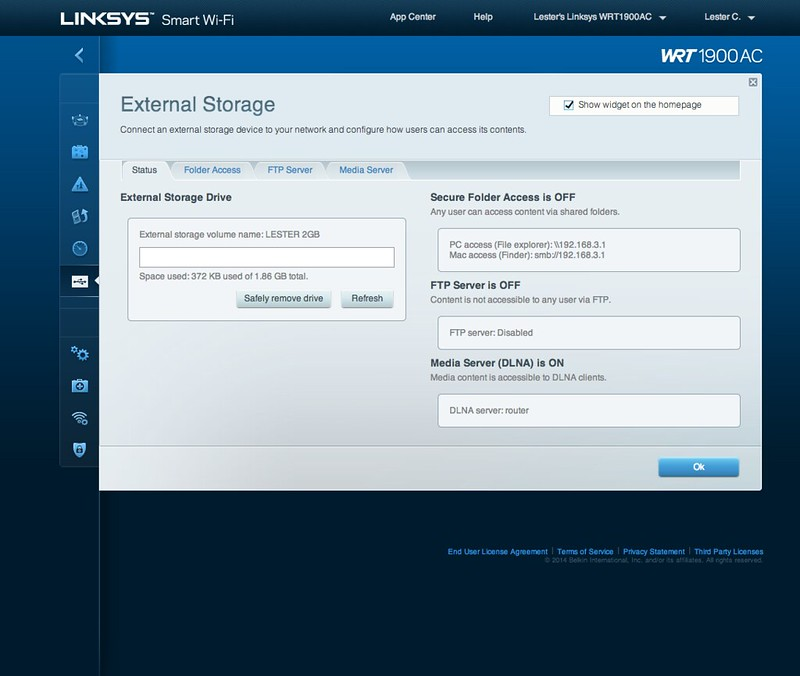 Linksys Smart Wi-Fi - External Storage - Status