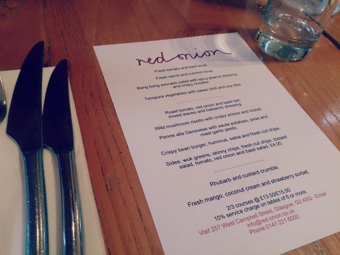 red onion vegan menu