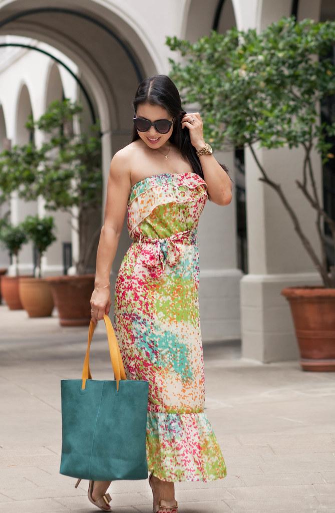 cute & little blog | petite fashion | multicolor maxi dress, bow strap heels, teal tote | spring summer fashion