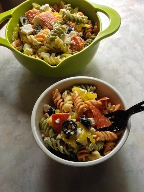 Pepperoni & Feta Pasta Salad in bowls.
