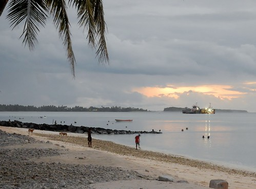 tuvalu funafuti coast beach sunset grey gray ship