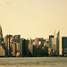 New York City Skyline Panorama, Midtown Manhattan, View from East River Ferry by Vivienne Gucwa
