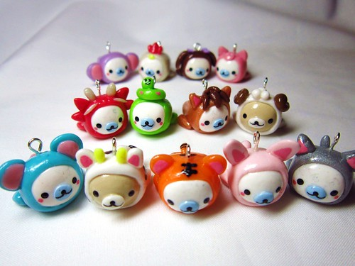 Mamegoma in Chinese Zodiac Animal Costumes Polymer Clay Charms