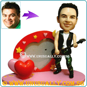 Custom 3D Male Rocker On Heart Photo Frame Figurine