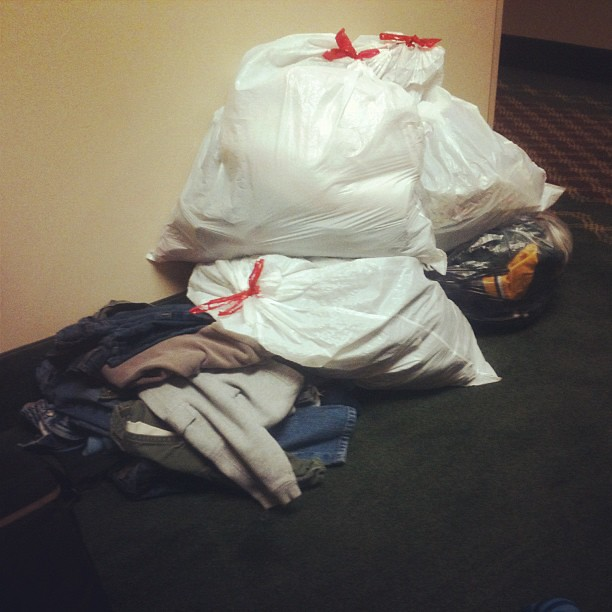I am at a hotel and this is my clean and folded camping laundry for five. A gypsy at last!!